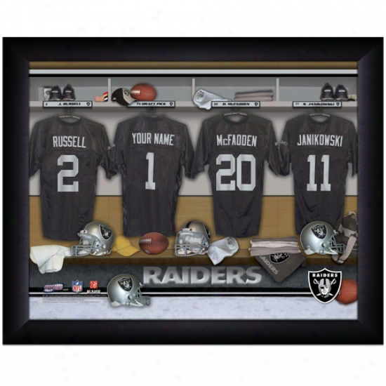 Oakland Raiders Customized Locker Room Black Framed Photo