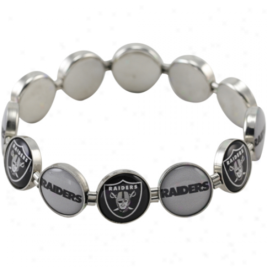 Oakland Raiders Enamel Charm Beaded Bracelet