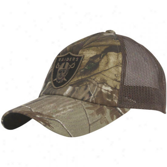 Oakland Raiders Gear: Reebok Oakland Raiders Forest Mesh Back Trucker Adjustable Hat