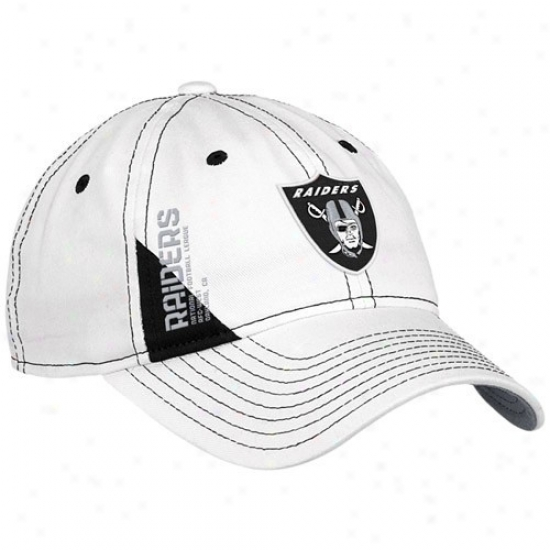 Oakland Raiders Gear: Reebok Oakland Raiders Ladies White Official 2010 Draft Day Adjustable Hat