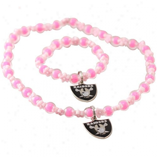 Oakland Raiders Girls Pink Sophie Beaded Team Logo Bracelet & Necklace Set