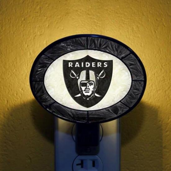 Oakland Raiders Hand-painted Glass Nightlight