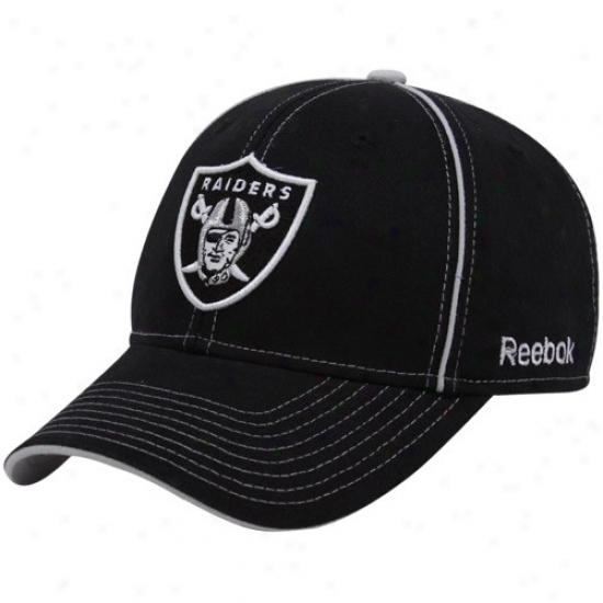 Oakland Raiders Hat : Reebok Oakland Raiders Black Structured Adjustable Hat