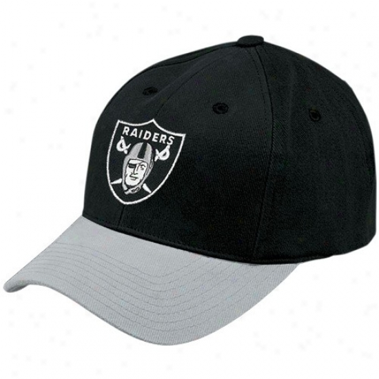 Oakland Raiders Hat : Reebok Oakland Raiderd Two Tone Youth Basic Logo Adjustable Hat