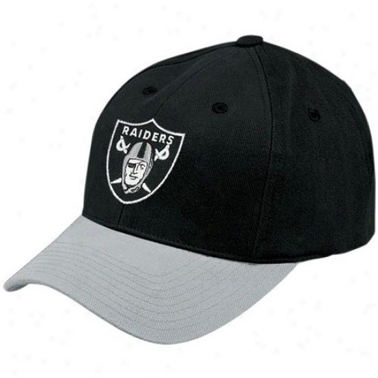 Oakland Raiders Hat : Reebok Oakland Raiderd Two Tone Youth Basic Logo Adjustable Hat