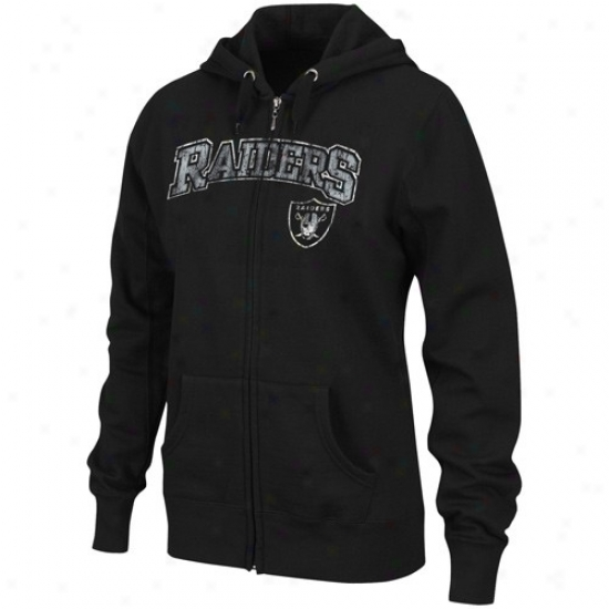 Oakland Raiders Hoodies : Oakland Raiders Ladies Black Football Classic Ii Full Zip Hoodies