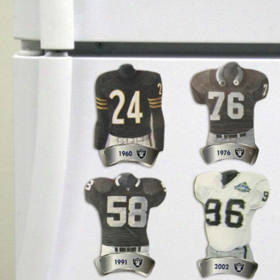 Oakland Raiders Jersey Evolution 4-pack Magnets