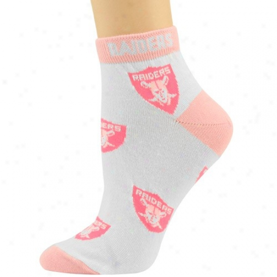 Oakland Raiders Ladies White-pink All Over Team Logo Ankle Sovks