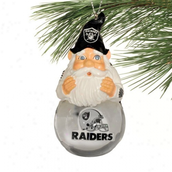 Oakland Raiders Light-up Gnome Snowglobe Christmas Ornament