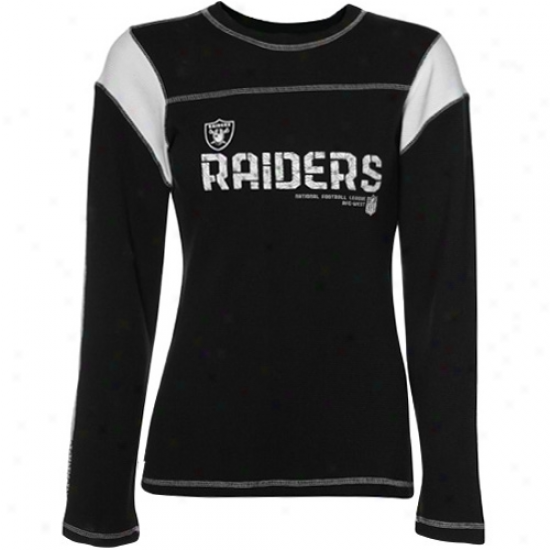 Oakland Raiders Shirts : Reebok Oakland Raiders Ladies Black Sideline Tacon Too Waffle Long Sleeve Shirts