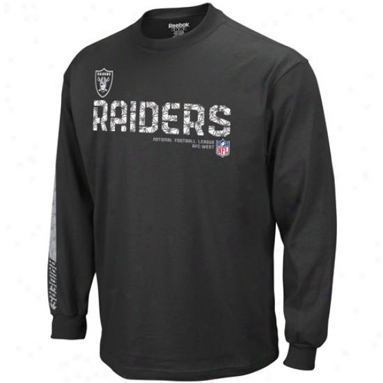 Oakland Raiders Shirts : Reebok Oakland Raiders Black Sideline Tacon Long Sleeve Shirts