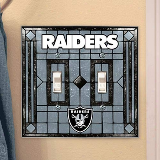 Oakland Raiders Silvef Art-glass Double Switch Plate Cover
