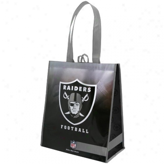 Oakland Raiders Silver--black Fade Reusable Tote Bag