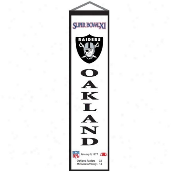 Oakland Raiders Super Bowl Xi Champions White Heritage Flag