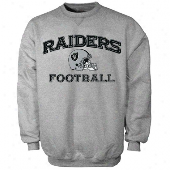 Oakland Raiders Sweat Shirts : Reebok Oakkland Raiders Ash Stacked Helmet Sweat Shirts