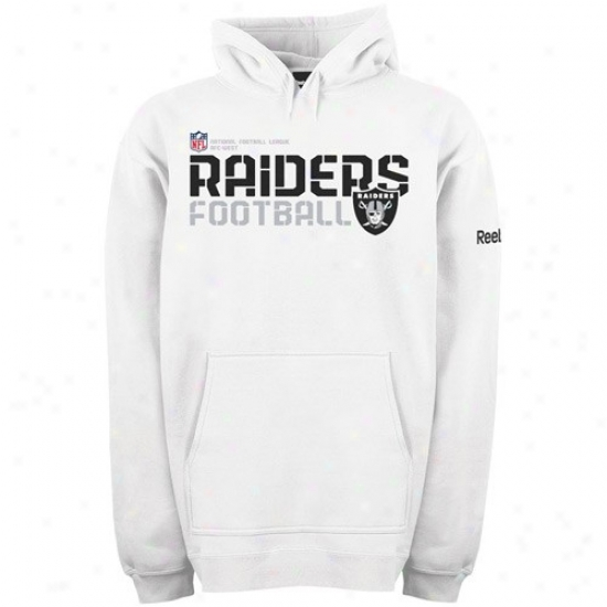 Oakland Raiders Sweat Shirts : Reebok Oakland Raiders White Sideline Tacon Sweat Shirts Pullover Sweat Shirts
