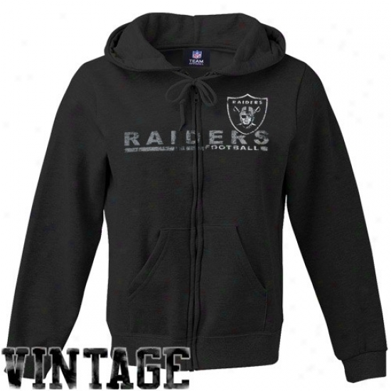 Oakland Raiders Sweatshirt : Oakland Raiders Ladies Black Classic Football Full Zip Vintage Sweatshirt