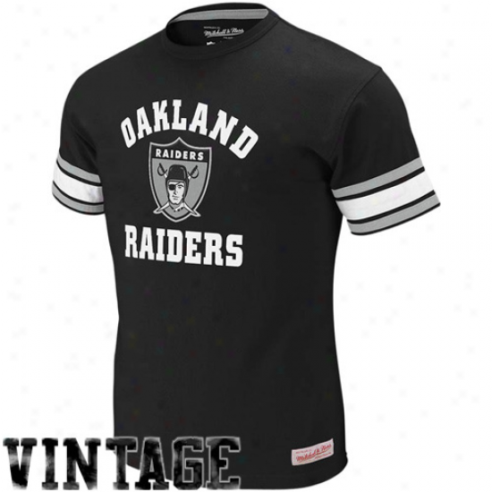 Oakland Raiders T Shirt : Mitcyell & Ness Oakland Raiders Black Touchdown Vintage Premium T Shirt