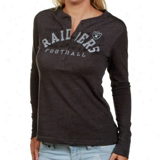 Oakland Raiders T-shirt : Oakland aRiders Ladies Charcoal Game Day Gal Ii Extended Sleeve Heathered Henley T-shirt