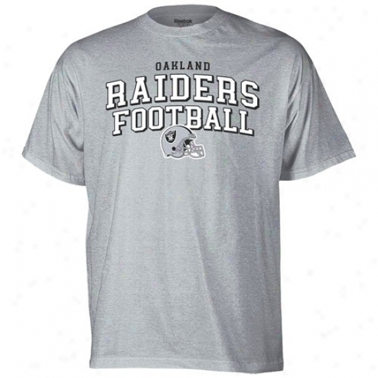 Oakland Raiders T Shirt : Reebok Oakland Raiders Ash Top Division T Shirt