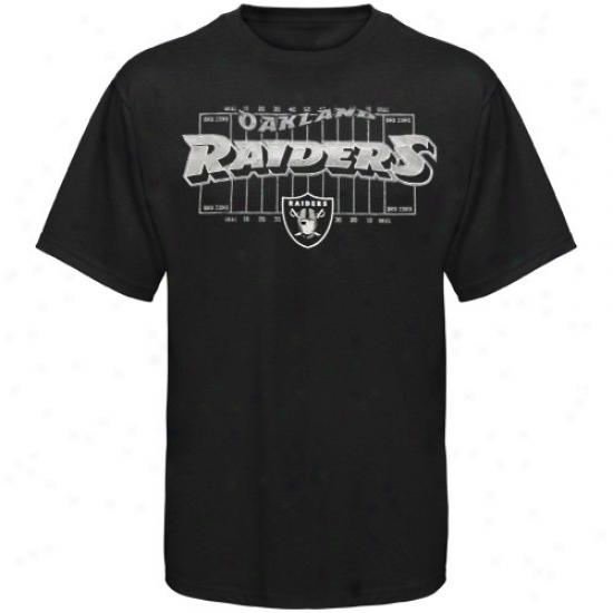 Oakland Raiders T-shirt : Reebok Oakland Raiders Youth Dismal Aeriwl Football Field T-shirt