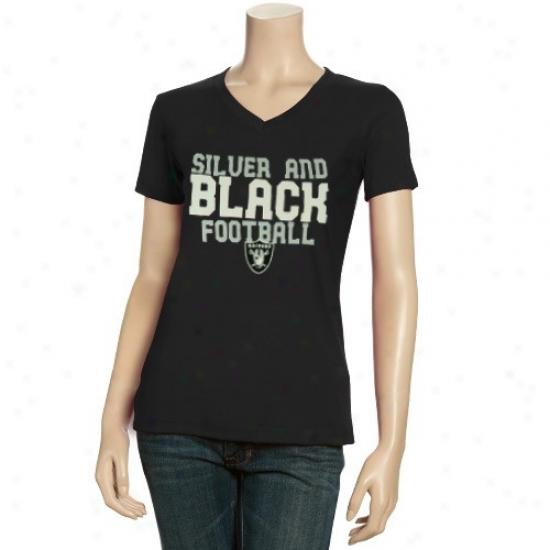 Oakland Raiders T Shirt : Reebok Oakland Raiders Ladies Dark Her Cheer V-neck T Shirt