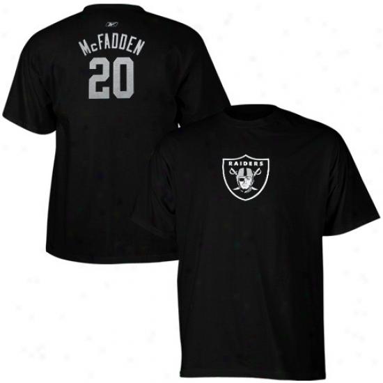 Oakland Raiders T-shirt : Reebok Oakland Raiders #20 Darren Mcfadden Ladies Black Net Player T-shirt