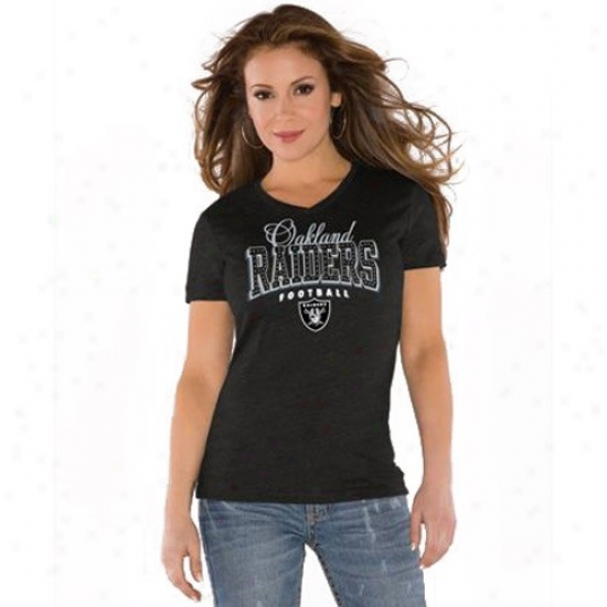 Oakland Raiders T-shirt : Touch By Alyssa Milano Oakland Raiders Black V-neck Heathered Tri-blend T-shirt