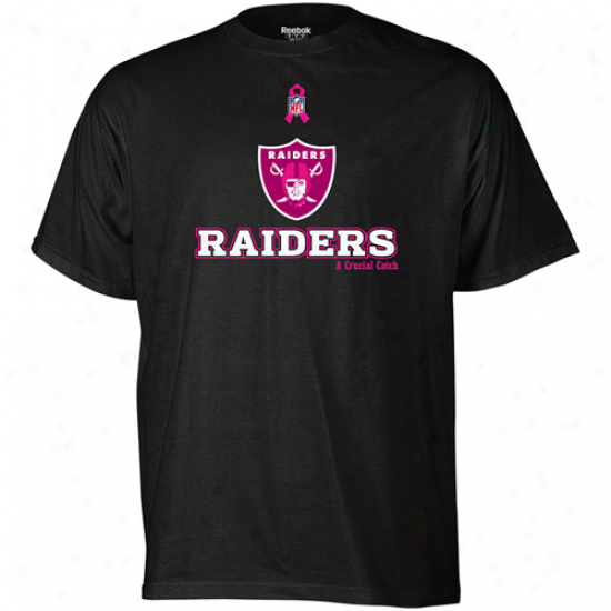 Oakland Raiders Tee : Reebok Oakland Raiders Back Breast Cancer Awareness Ribbon Tee