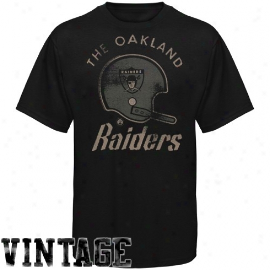 Oakland Raiders Tshirt : Oakland Raiders Black Vintage Distressed Logo Tshirt