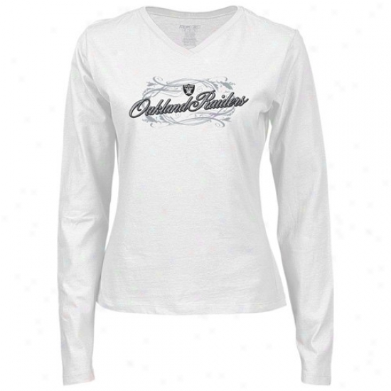 Oakland Raiders Tshirt : Reebok Oakland Raiders Ladies White Jennifer Slim Fit Long Sleeve Tshirt