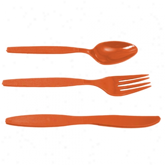 Orange 24-piece Team Color Deluxe Plastic Cutlery Set