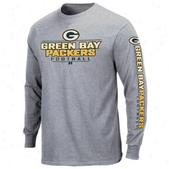 Packers Apparel: Packers Ash Primary Receiver Long Sleeve T-shirt