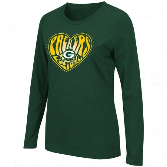 Packers Attire: Packers Ladies Green Heart Of The Surface Slow Sleeve T-shirt