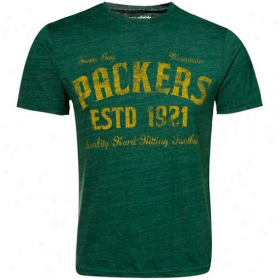 Packers Attire: Reeok Packers Green Dillinger Tri-blend Premium T-shirt