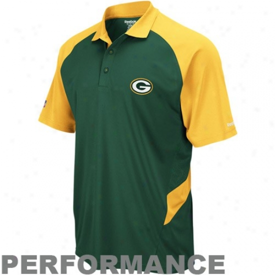 Packers Clothes: Reebok Packers Green-gold Sideline Statement Performance Polo