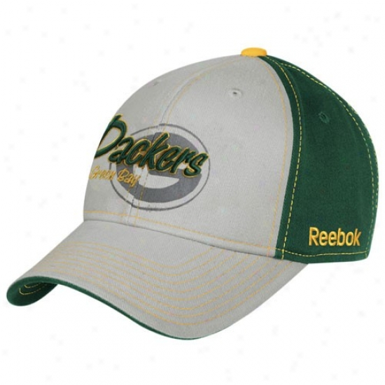 Packers Gear: Reebok Packers Youth Gray-green Tonal Flourish Adjustable Haat