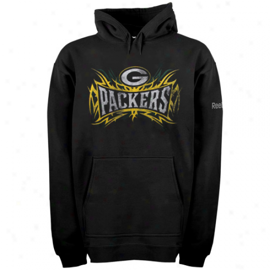 Packers Hoodys : Reebok Packers Black Outlast Brand Hoodys