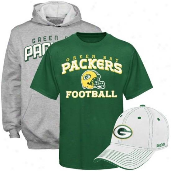 Packers Hoodys : Reebok Packers Youth Hoody, Hat & T-shirt 3-pack Gift Set