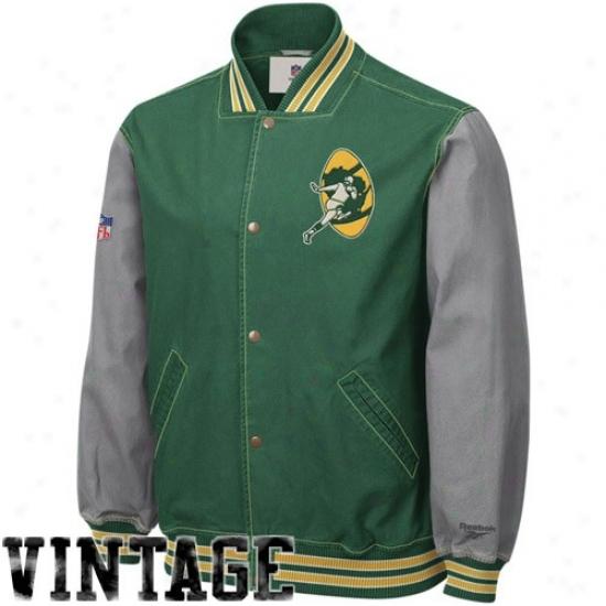 Packers Jcket : Reebok Packers Green Throwback Varsity Canvas Jerkin