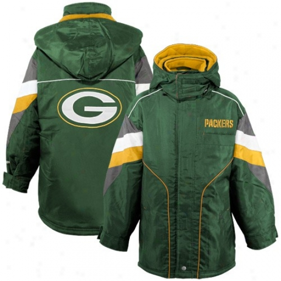 Packers Jacket : Reebok Packers Youth Green Heavyeight Parka