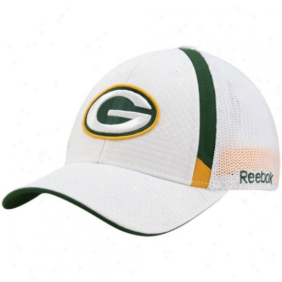 Packers Merchandise: Reebok Pacckers Of a ~ color Structured Mesh Back Flex Fit Hat