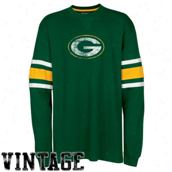 Packers T-shirt : Packers Green End De~ate Long Sleeve Vintage T-shirt