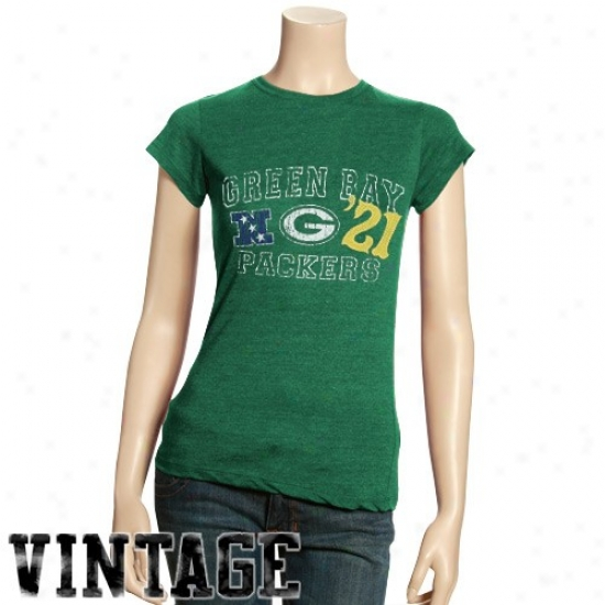Packers T-shirt : Packers Ladies Green Established Vintage Tri-blend T-shirt