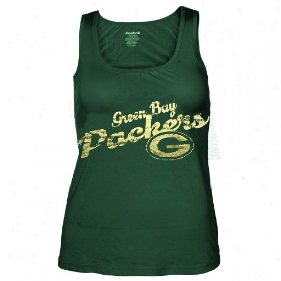 Packers T-shirt : Reebok Packers Ladies Green Rah-rah Shift Tank Top