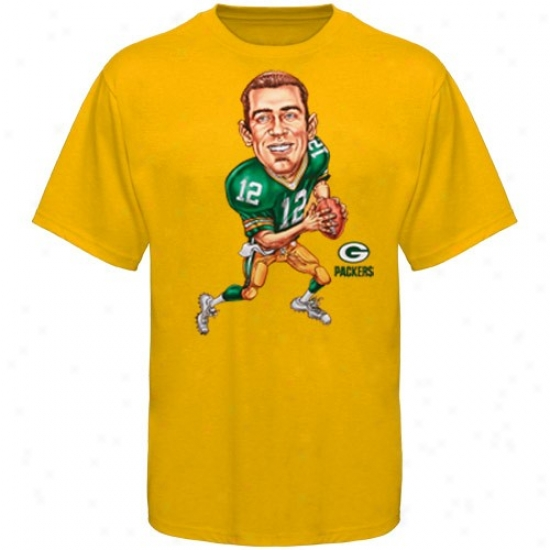 Packers Tee : Reebok Packers #12 Aaron Rodgers Golc Caricat8re Player Tee