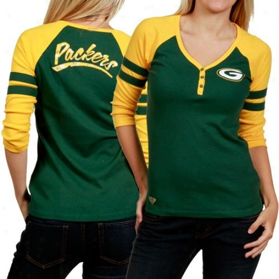 Packers Tshirt : Reebok Packers Ladies Green-gold 3/4 Sleeve Henley Tshirt