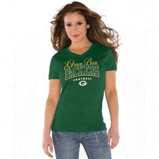 Packers Tshirt : Touch By Alyssa Milano Packers Green V-neck Trib-lend Tshirt
