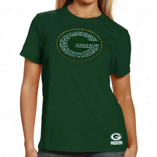 Packers Tshirts : Reebok Packers Ladies Green Rhinestone Logo Premium Tshirts