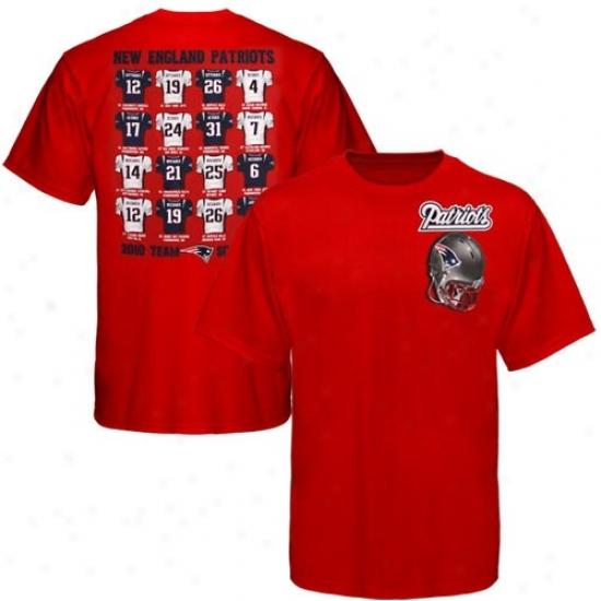 Patriots Apparel: Reebok Patriots Red Jersey Schedule T-shirt